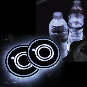 2x Car Usb Led Cup Bottle Holder Bottom Pad Cover Mat Atmosphere Light White New