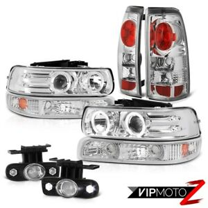 99 02 Chevrolet Silverado 2500 Ccfl Halo Drl Headlights Bumper Lights Foglight