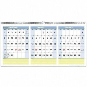 Aagpm1528 At a glance Quicknotes Three month Horizontal Wall Calendar