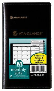 At a glance Recycled Monthly Planner 3 X 6 Inches Black 2013 70 064 05