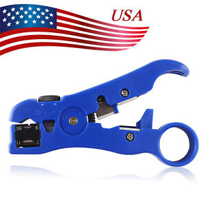For Rg59 Rg6 Rg7 Rg11 Cable Cutter Stripper Rotary Coax Coaxial Compression Tool