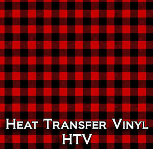 Red Black Buffalo Plaid Htv Heat Transfer Vinyl Printed Craft Sheet 18 X 12 Inch
