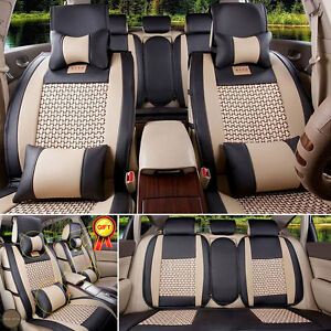 Us 7pcs 5 Seats Car Seat Cover Front rear Full Set Cover Pu Leather cooling Mesh