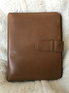 Franklin Covey Classic Tan Genuine Leather Open Strap 7 Ring Planner Binder 1 25