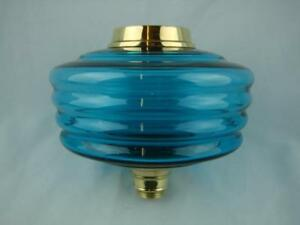 Superb Antique Oil Lamp Font Deep Turquoise Ribbed Design Glass Brass Fittings