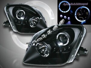 Fit For 97 01 Honda Prelude Projector Headlights Black Twin Halo Led 98 99 00