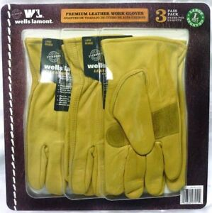 Leather Premium Work Gloves 3 Pair Pack