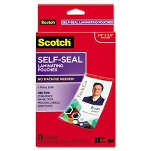 Self sealing Laminating Pouches W clip 12 5 Mil 2 15 16 X4 1 16 25 pack X2