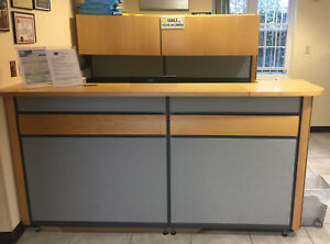 Luxury Receptionist Counter Front Desk Station With 5 Drawer Backboard 2 Draw