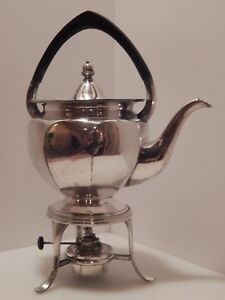 Harrods London England Silverplate Teapot Tea Pot With Stand Burner With Wick