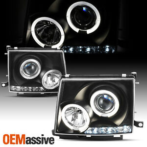 Fits 97 00 Toyota Tacoma Pickup Jdm Black Dual Halo Projector Led Headlights Set