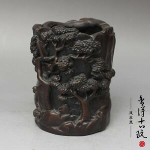 China Handmade Antique Red Copper Pine Pen Container Office Supplies Statues