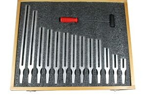 13 Pcs Aluminum Tuning Fork 100 To 4028hz With Rubber Tipped Mallet Storage Box