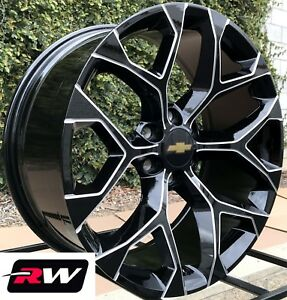 Chevy Tahoe 20 Inch Wheels Black Milled Rims Gmc Sierra Snowflake Rims 20x9