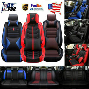 5 Seats Car Seat Cover Cooling Mesh pu Leather Cushion All Season W Auto Pillow