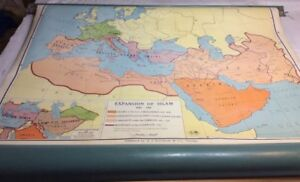 Vintage Nystrom Pull Down Expansion Of Islam Map 01096a