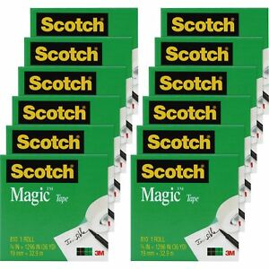 Scotch Magic Tape 1 Core 3 4 x1296 12 Rolls pk Transparent 810341296pk