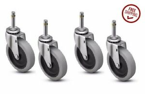 Set Of 4 Swivel Stem Casters With 4 Gray Rubber Wheels 7 16 Grip Ring Stems