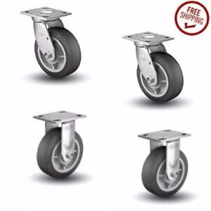 Set Of 4 Colson Plate Casters And Black Soft Rubber 6 Wheels 2 Rigid 2 Swivel