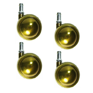 Set Of 4 Swivel Brass Planet Ball Casters 2 1 2 With 7 16 X 7 8 Grip Ring Ste