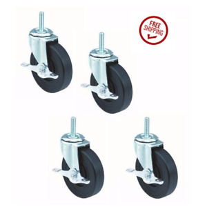 Set Of 4 Threaded Stem Casters And 5 Wheels And 1 2 13 Stem And Brakes