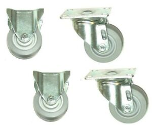 pack Of 4 Colson Plate Casters W 35 Tpe Wheels 2 Fixed 2 Swivel Made In Usa
