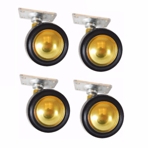 Shepherd Brass Finish Soft Tread Swivel Ball Casters With 2 X 1 3 16 Plate