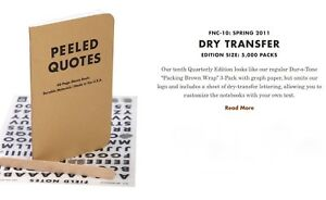Brand New Field Notes Dry Transfer Special Edition Memo Book 3 pack Spring 2011