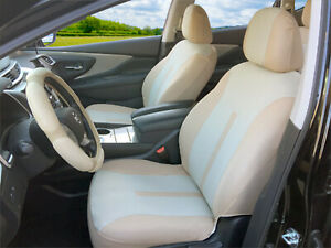 2 Front Tan Beige Poly Fabric Car Seat Covers For Toyota 16103
