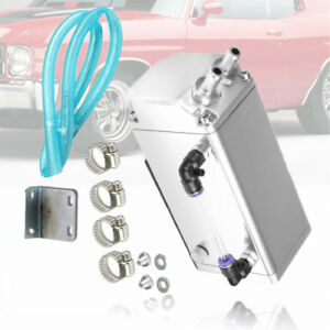 Chrome Aluminum Engine Square Oil Catch Reservoir Breather Tank Can Kit Fit Gm