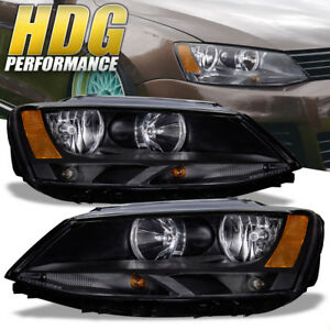 Black Housing Clear Lens Amber Side Reflector Headlights Lamps For 11 17 Jetta