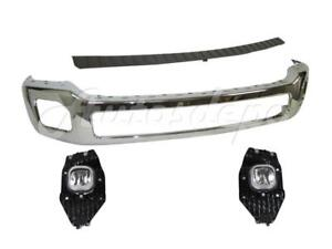 Front Bumper Chrome Face Bar Adobe Top Pad Fog Light For 2011 16 Ford F250 F350
