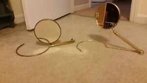 Pair Of Vintage Brass Swivel Mirrors With Stands