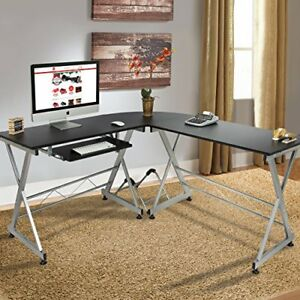 Best Choice Products Wood L shape Corner Computer Desk Pc Laptop Table Workstati