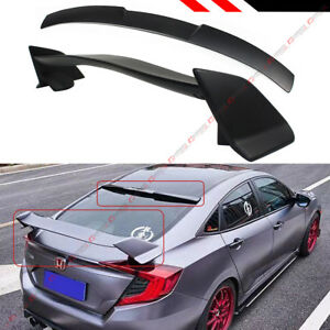 For 2016 2019 Honda Civic 4dr Type R Style Trunk Wing Rear Window Roof Spoiler
