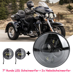 7 Motorcycle Led Projector Daymaker Headlight Passing Lights For Harley Touring