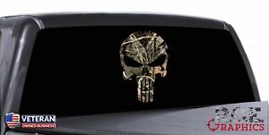Patriotic Skull Window Decal Vinyl Graphic Camouflage Real Tree Woodland Hunting