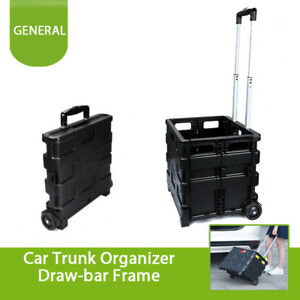 Wheeled Rolling Retractable Car Trunk Cargo Organizer For Shopping Picnic Travel