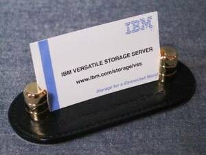 Ibm Black Leather And Brass Heavyweight Business Card Holder Stand new