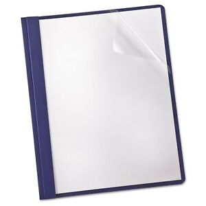 Linen Paper Report Cover Tang Clip Letter 1 2 Capacity Clear navy 25 box