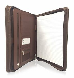 Zippered Leather Business Portfolio Padfolio Professional Dark Brown Pu Binder