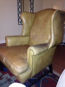 Biege Leather Wing Back Chair Studded Chippendale Style 101 Years Old