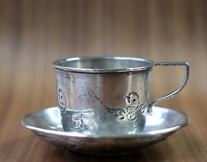 Vintage Mexican Sterling Silver 925 F Ramirez Cup Saucer 76 3 Grams