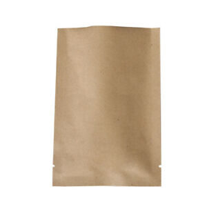 Pack Of 100 Flat Kraft Paper Metallized Mylar Open Top Bags Outer Size 2 8x3 9