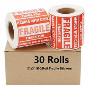30 Rolls 500 roll 2x3 Fragile Stickers Handle With Care Thank You Us Shipping