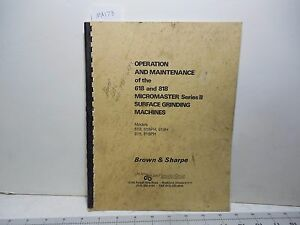 Brown Sharpe 618 818 Surface Grinder Operation And Maintenance Ma178