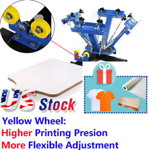Usa 4 Color Silk Screen Printing Press Machine Screening Pressing With Station