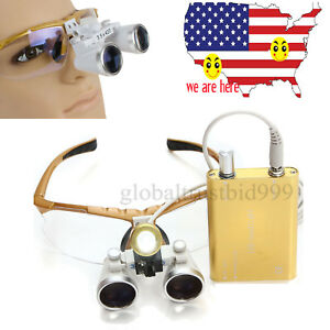Yellow Dental Magnifying Binocular Loupes 3 5x 420 Optical Lenses Led Head Lamp