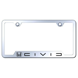 Cut out License Plate Frame With Honda Civic Reverse C On Mirrored licensed