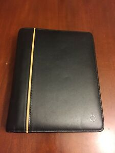 Franklin Covey Classic Planner 7 Ring Binder Black Full Grain Leather Organizer